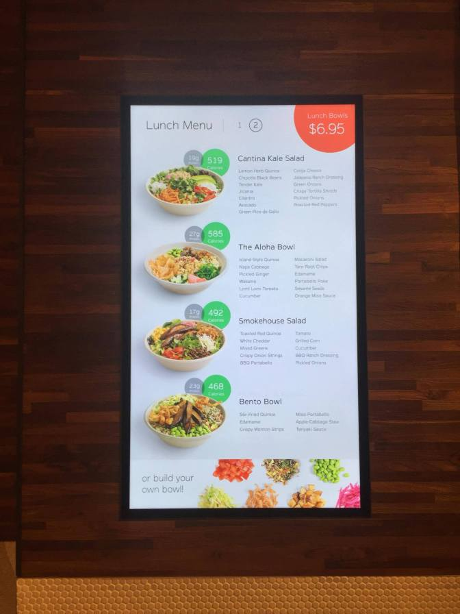 Eatsa's menu changes daily.